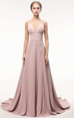 Online Long Light Skin Pink Bridesmaid Dress