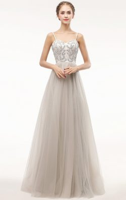 Online Long Silver Bridesmaid Dress