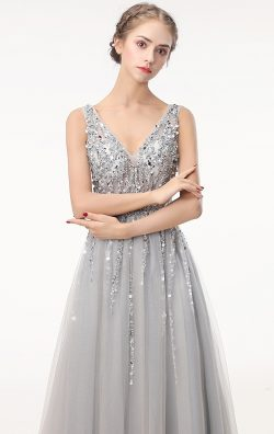 Online Long Grey Bridesmaid Dress BNNFF0008