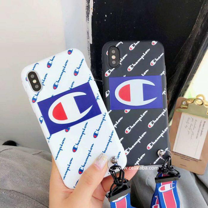 Champion iphoneXカバー チャンピオン iphone8ケース ストラップ ペア iphone7plusケース ブランド ア ...