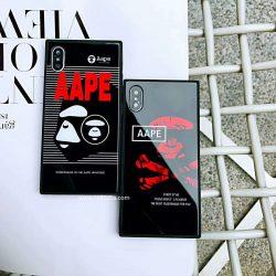 エーエイプ iphone xカバー 鏡面加工 アイフォン8/8プラスケース 強化ガラス製 iPhone7/7plusカバー グ ...