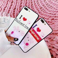 ファションブランド ヴァレンティノ iPhone X 10 8 7 PLUS ケース 個性 ペッパピッグ アイフォン 6s/7/ ...