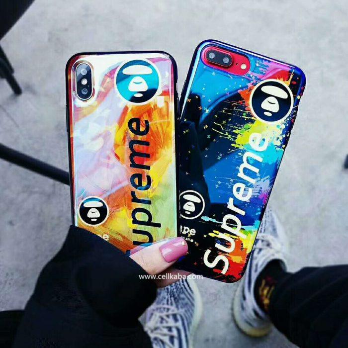 シュプリーム エーエイプ iPhone Xケース 鏡面入れ かっこいい iPhone8 iphone8plus ケース Supreme ソ ...