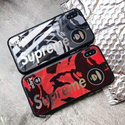 AAPE&Supreme アイフォンxケース ガラス鏡面 シュプリーム iPhone8ケース iphone7 plusケース エー ...