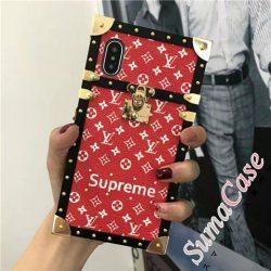 LV SUPREME コラボ iphone x/8/7 ペア ケース ルイヴィトン かっこいい ダミエ モノグラム アイフォン7 ...