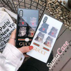 GUCCI iphone xペアケース スクエア型 グッチ ブランド アイフォン6s カバー 強化ガラス製 iphone8/7  ...