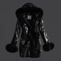 Moncler Down Coats For Women Black With Mock Collar And Detachable Cap moncler-jacketsonsale.com