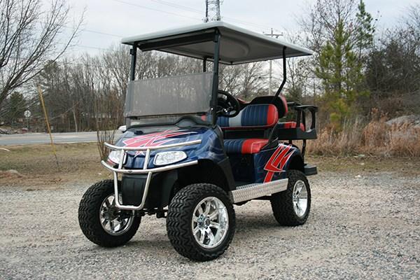 Navy Red Silver Lift EZ-GO RXV Golf Cart