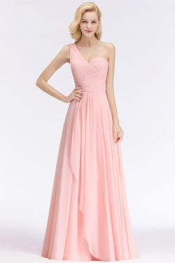 Elegante Rosa Brautjungfernkleider Günstig Chiffon Etuikleider Online