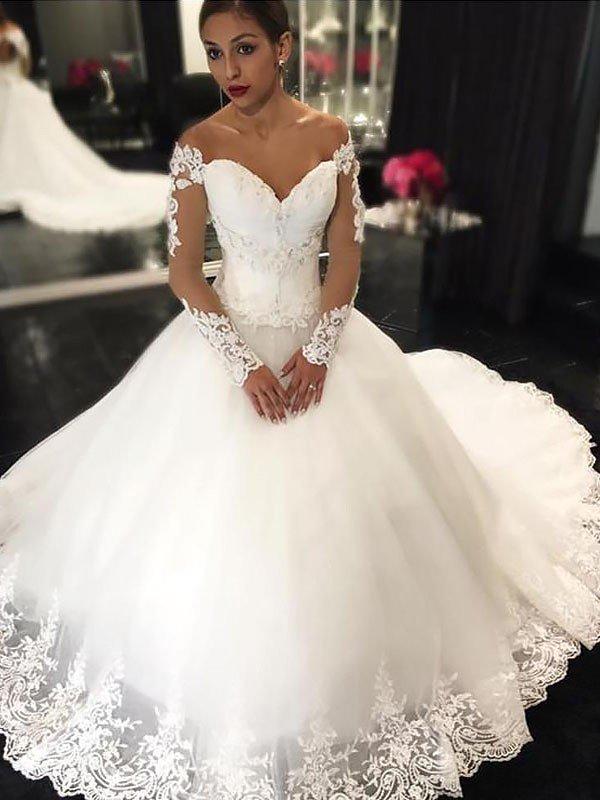 Neue Weiße Brautkleider Lange Ärmel Prinzessin Hochzeitskleider Mit Spitze