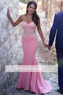 Günstige Abendkleider Rosa Meerjungfrau Perlen Abiballkleider Ballkleider Online