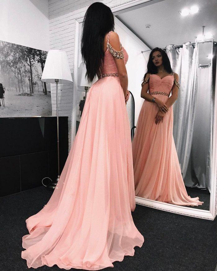 Rosa Abendkleider Lang Günstig Schulterfrei Chiffon Abiballkleider Online