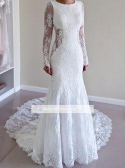 Günstig Brautkleider Weiß Lange Ärmel Meerjungfrau Rückenfrei Spitze Hochzeitskleider Online