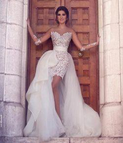 Weiß Brautkleider Spitze Kurz Lang Tüll Brautmoden Hochzeitskleider