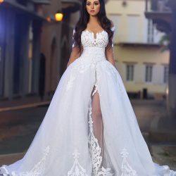Weiß Brautkleider 2018 Spitze Lange Ärmel A Linie Organza Brautmoden Hochzeitskleider