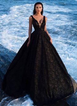 Elegant Abendkleider Lang Schwarz Spitze A Linie Abendmmoden Abiballkleider