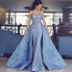 Luxury Blaues Abendkleid A Linie Spitze Abendkleider Günstig Online
