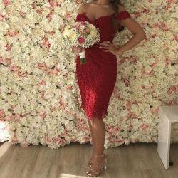 Elegante Rote Cocktailkleider Spitze Kurze Abiballkleider Online