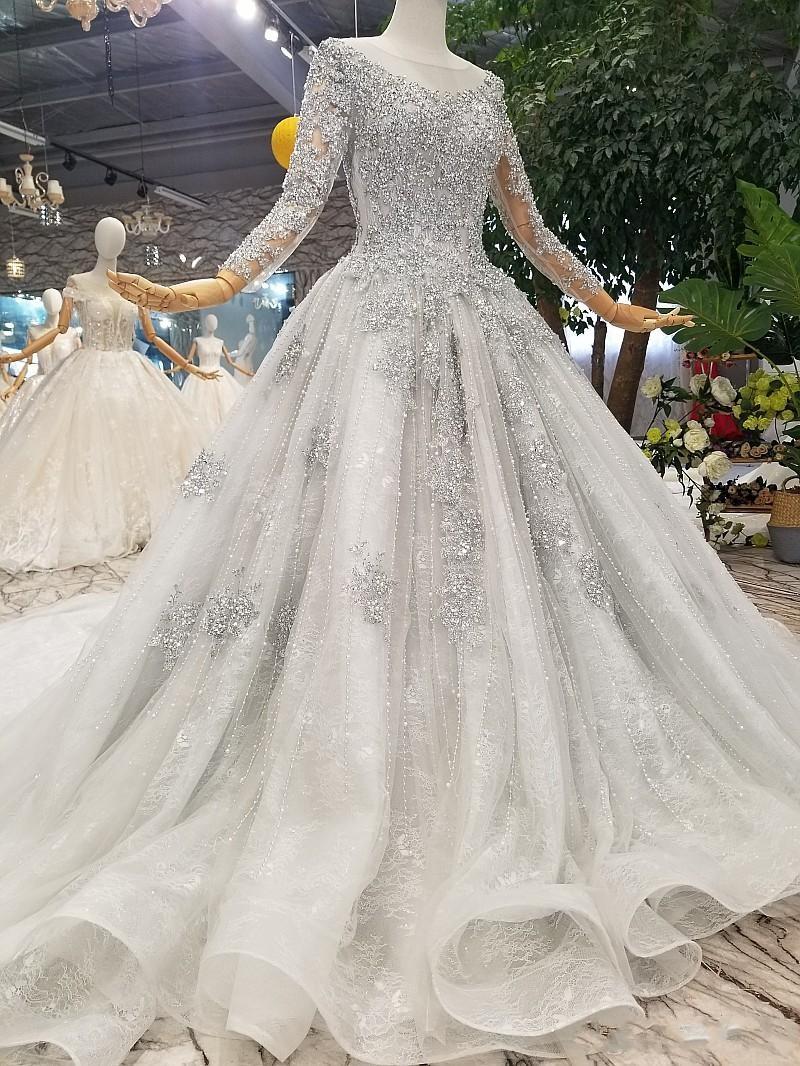 Fashion Silver Brautkleider Mit Ärmel Spitze Hochzeitskleider A Linie Online