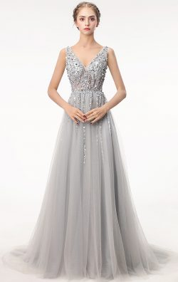 Online Long Grey Bridesmaid Dress