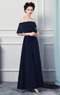Online Long Dark Navy Bridesmaid Dress