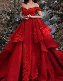 Luxus Hochzeitskleider Rot A Linie Spitze Brautkleider Günstig Online