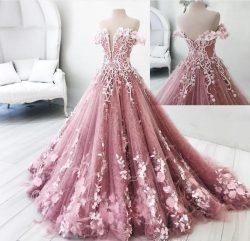 Modern Rosa Abendkleider Prinzessin Federn Abendmoden Abiballkleider Günstig