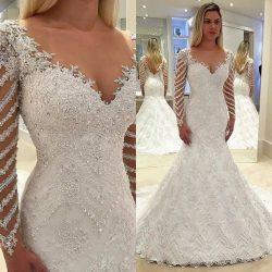 Elegante Weiße Brautkleider Spitze Günstig Hochzeitskleider Mit Ärmel