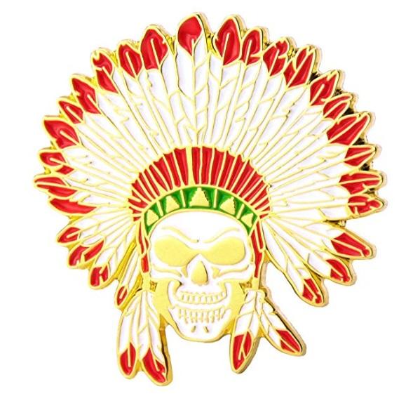GS-JJ Native American Indian Headdress Skull Custom Lapel Pins