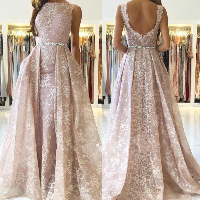 Rosa Abendkleider Lang Günstig   A Linie Spitze Abendkleid Online