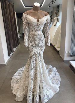 Spitze Brautkleid Meerjungfrau | Hochzeitskleider Mit Ärmel Günstig