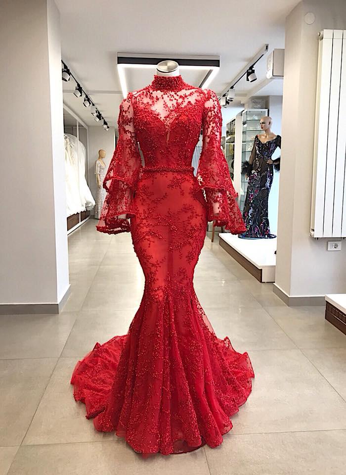 Elegante Abendkleider Rot Spitze | Abiballkleider Lang Mit Ärmel