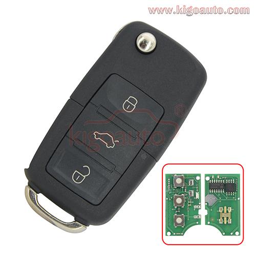 1JO 959 753 N Remote key 3 button HU66 434Mhz for VW Bora Seat Ibiza Skoda Octavia 2000 1J0959753N