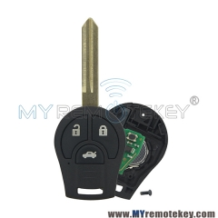 Remote key fob 3 button for 2008 – 2013 Nissan Cube Rogue 433mhz with ID46 chip