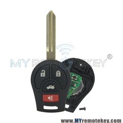Remote key 3 button with panic for 2008 – 2014 Nissan Cube Rogue Juke Versa 315mhz 434mhz  ...