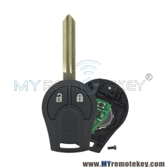 Remote key fob 2 button for 2008 – 2013 Nissan Cube Rogue 433mhz with ID46 chip