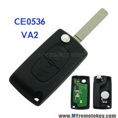 CE0536 Flip remote key for Citroen Peugeot 2 button 433mhz VA2 PCF7961 ASK FSK electronic circui ...