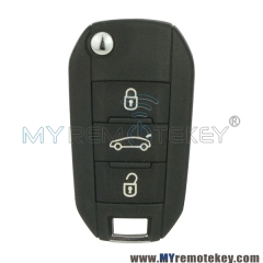 OEM flip remote car key 3 button 433Mhz for Peugeot 508 2014 2015