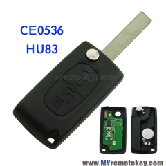 CE0536 Flip remote key for Citroen Peugeot 2 button 433mhz HU83 PCF7961 ASK FSK electronic circu ...