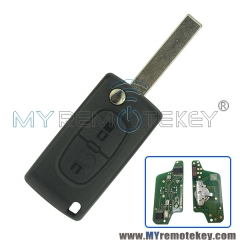 CE0523 Flip remote key for Citroen Peugeot 2 button 433mhz HU83 PCF7941 ASK electronic circuit board
