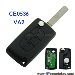 CE0536 Flip remote key for Citroen Peugeot 3 button 433mhz VA2 middle button light PCF7961 ASK F ...