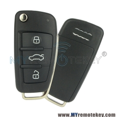 Flip car remote key 4f0 837 202 m for Audi A6 Q7 2007 2008 2009 2010 433 mhz 315 mhz 8e chip HU6 ...