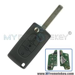 CE0523 Flip remote key for Citroen Peugeot 3 button 433mhz VA2 middle button light PCF7941 ASK e ...