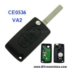 CE0536 Flip remote key for Citroen Peugeot 3 button 433 mhz VA2 PCF7961 ASK FSK electronic circu ...