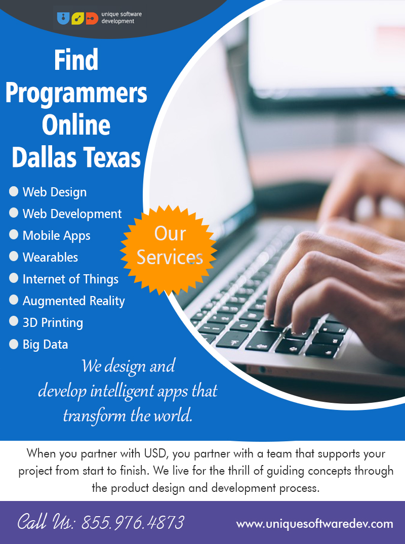 Find Programmers Online Dallas Texas | Call – 855-976-4873 | uniquesoftwaredev.com
