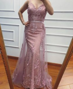 Elegante Abendkleider Lang Rosa | Abendkleid Spitze Online Günstig