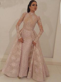 Elegante Rosa Abendkleider Mit Ärmel | Abendmoden Spitzen Online