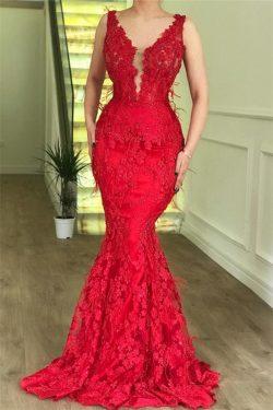 Elegante Abendkleider Lang Rot | Spitze Abendmoden Abiballkleider