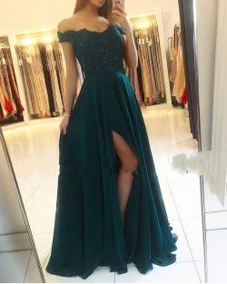 Fashion Grüne Abendkleider Lang Günstig | Chiffon Kleider Abiballkleider Spitze
