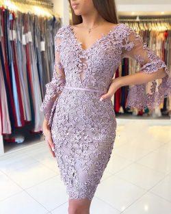 Elegante Purple Cocktailkleider Kurz | Spitze Abendkleider Mit Ärmel